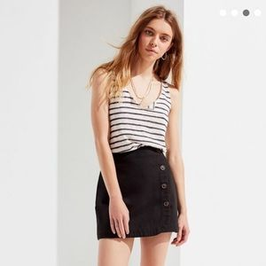 NWOT Striped Textured Notch Cropped Tank Top